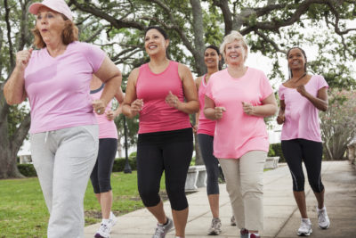 Breast Cancer Supporters Walk and Run with Courage for Survivors.